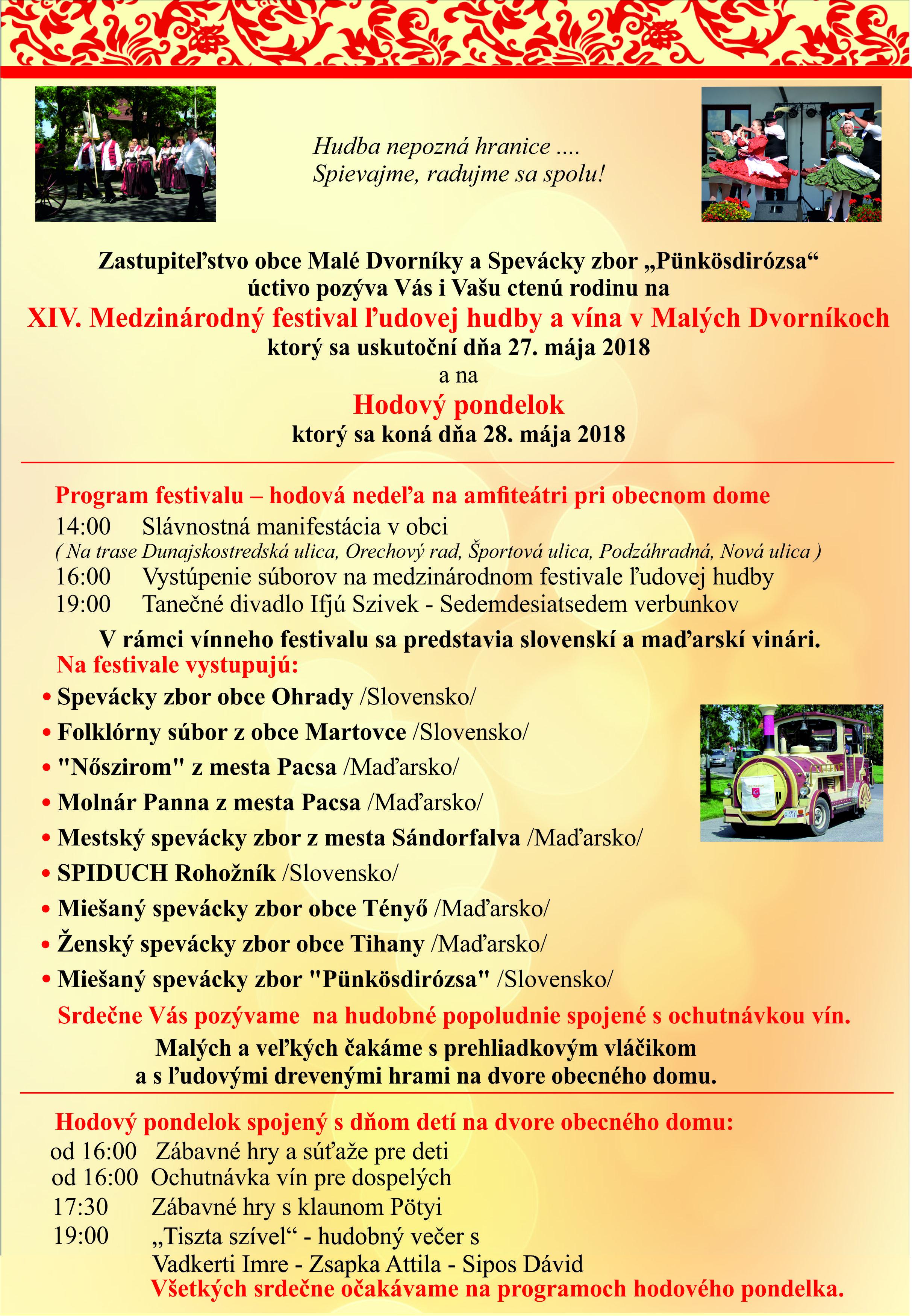 8a64cc84d Pozvánka na XIV. Medzinárodný festival ľudovej hudby | Malé Dvorníky