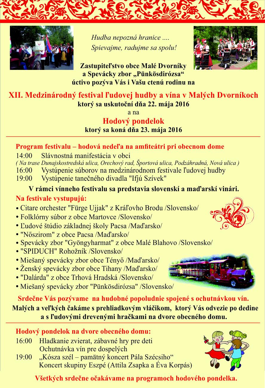 f0cfb1bee Pozvánka na XII. Medzinárodný festival ľudovej hudby | Malé Dvorníky