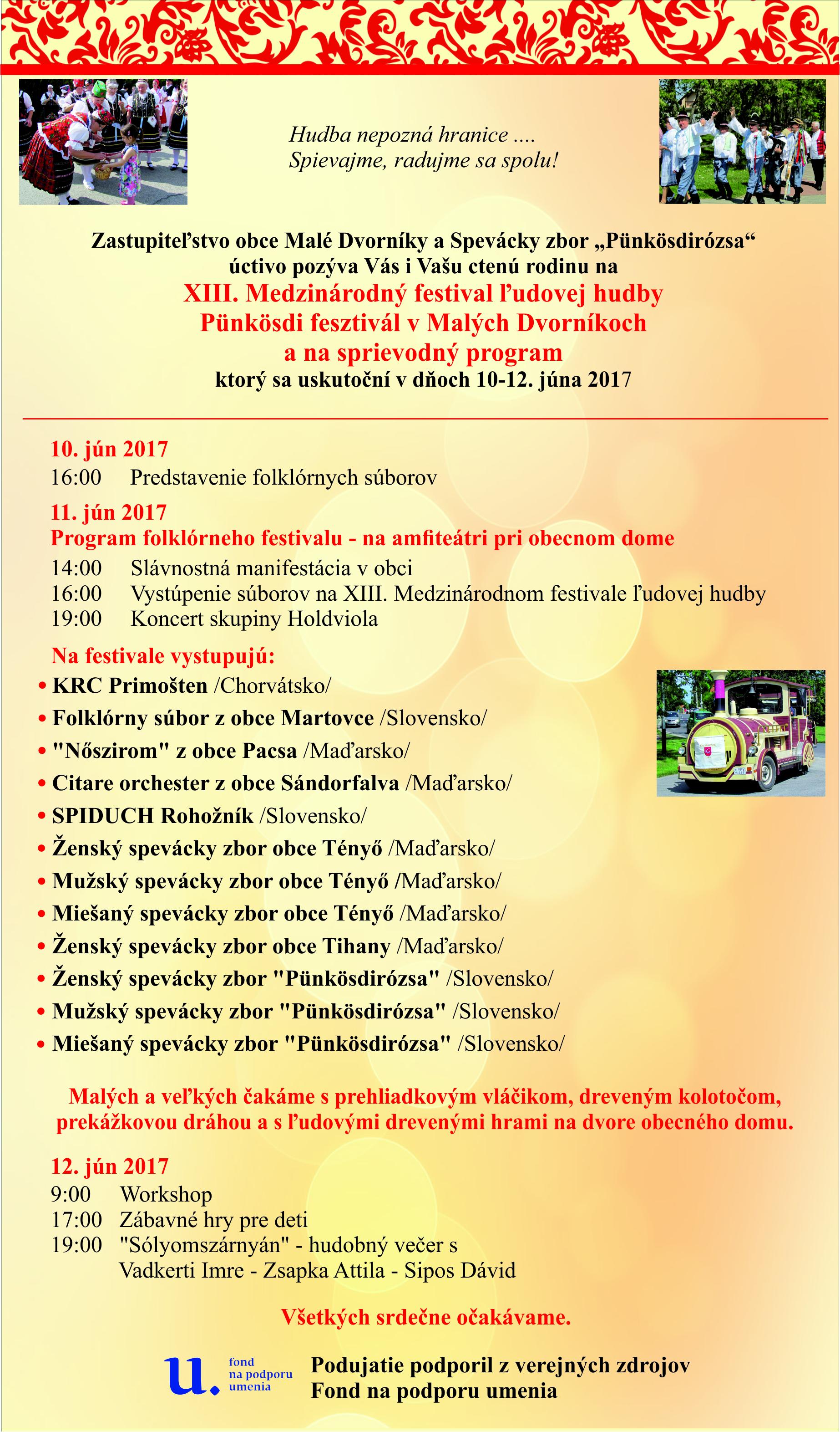 39bdd6876 Pozvánka na XIII. Medzinárodný festival ľudovej hudby | Malé Dvorníky